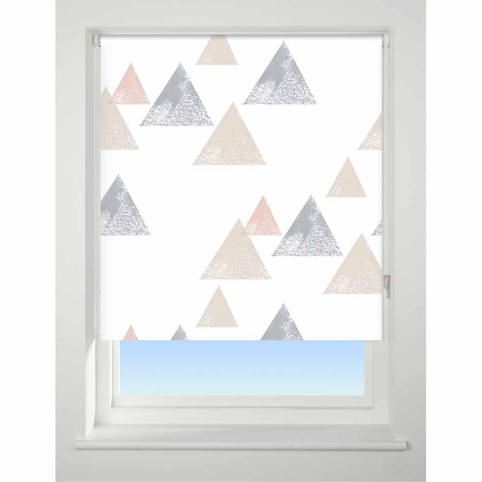 Uni Patterned Roller Blind Textured Triangle 120cm Coral